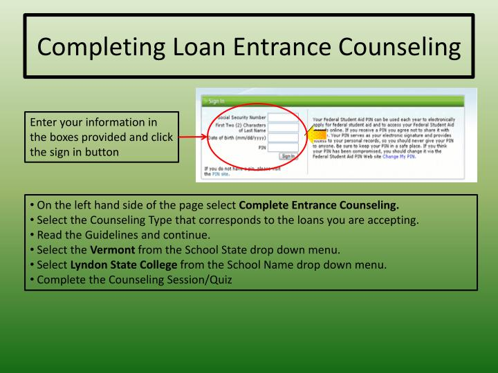 Completing Loan Entrance Counseling