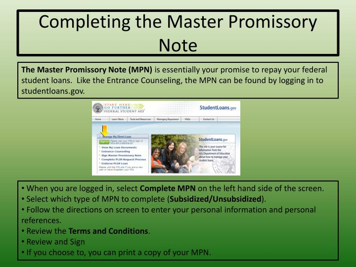 Completing the Master Promissory Note