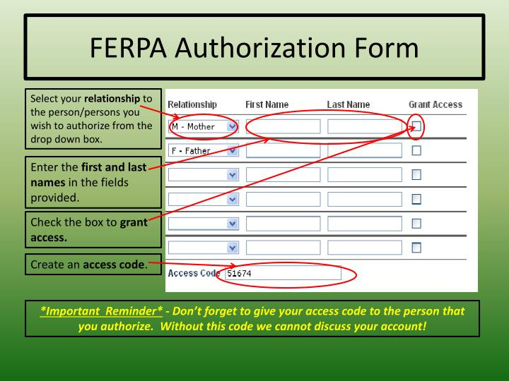 FERPA Authorization Form