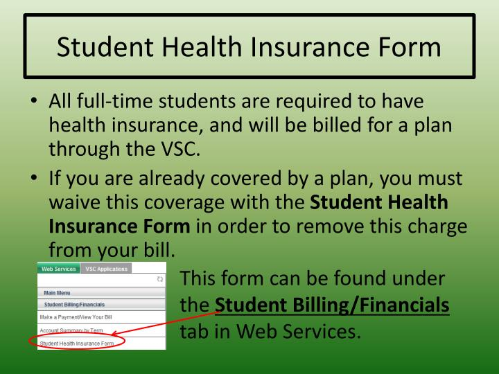 Student Health Insurance Form