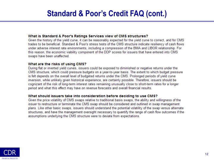Standard & Poor's Credit FAQ (cont.)