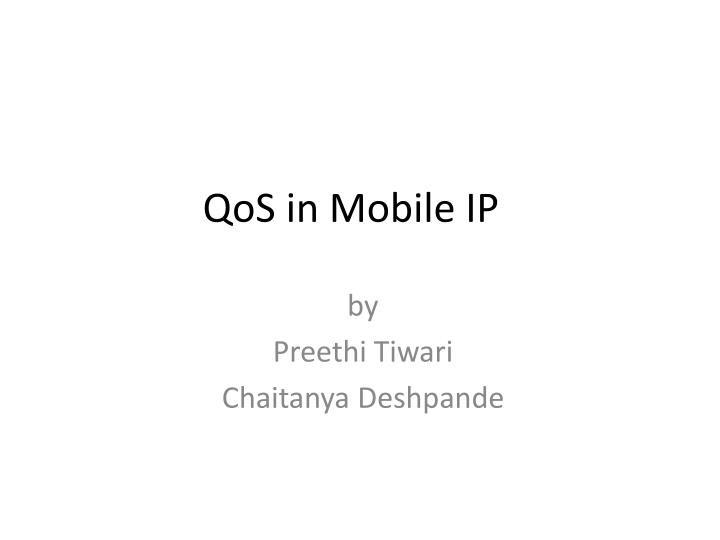 QoS in Mobile IP