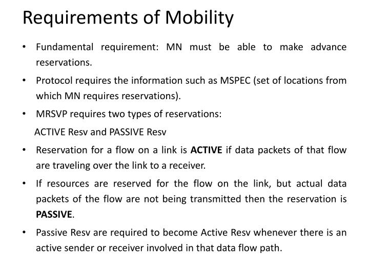 Requirements of Mobility