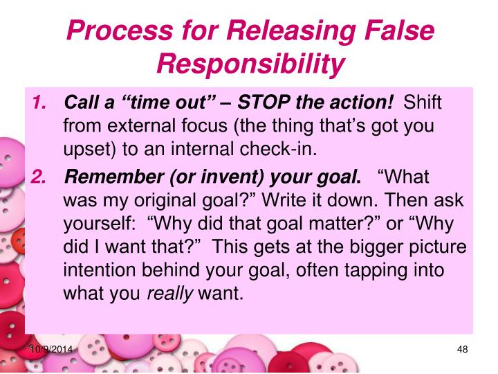 Process for Releasing False Responsibility