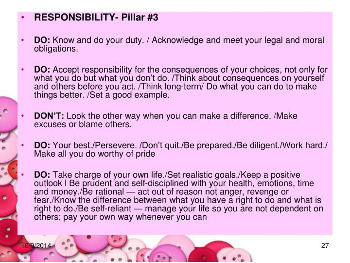 RESPONSIBILITY- Pillar #3