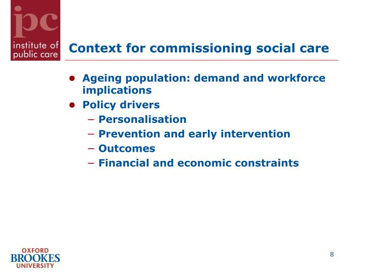 Context for commissioning social care