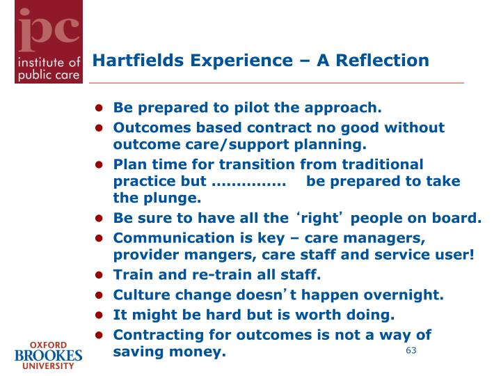 Hartfields Experience – A Reflection