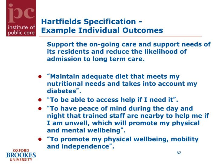 Hartfields Specification -