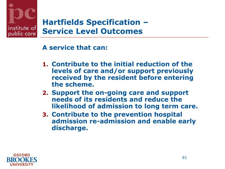 Hartfields Specification –