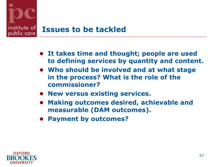 Issues to be tackled