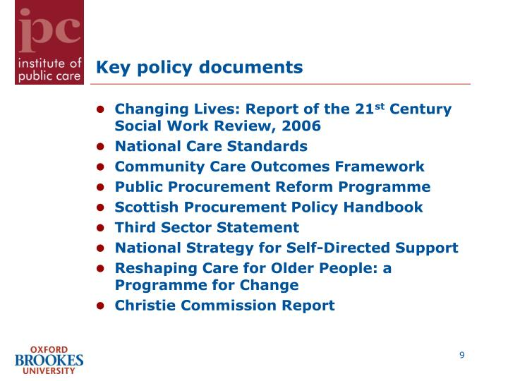Key policy documents