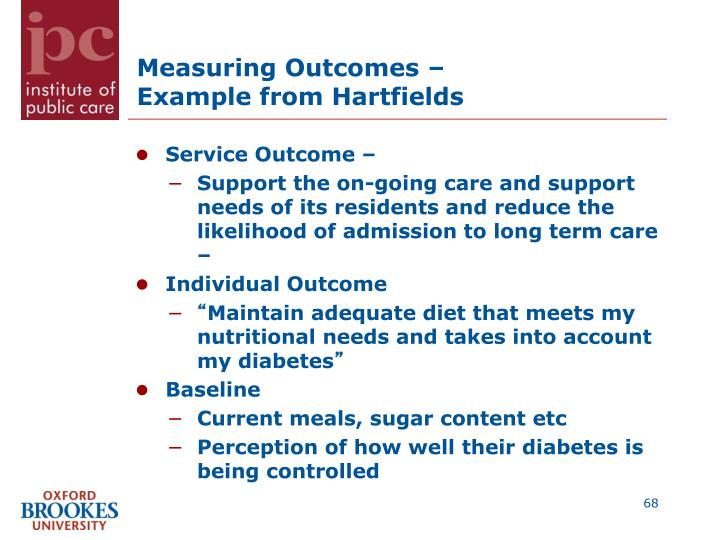 Measuring Outcomes –