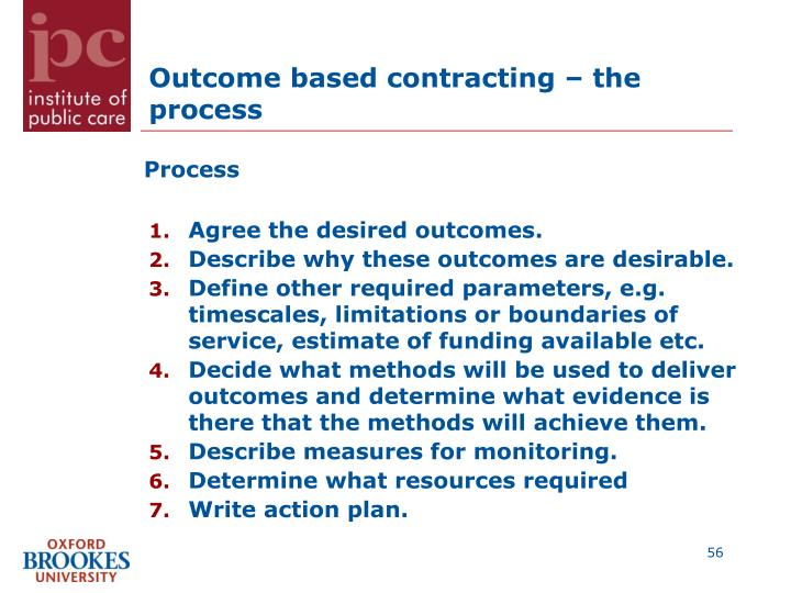 Outcome based contracting – the process