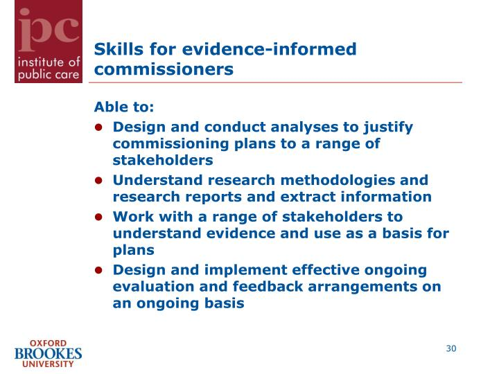 Skills for evidence-informed commissioners