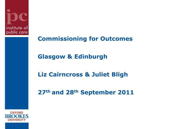 Commissioning for Outcomes