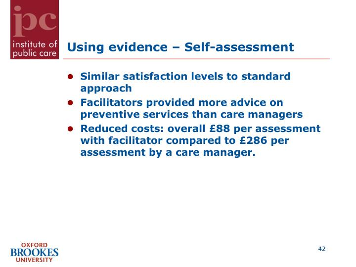 Using evidence – Self-assessment