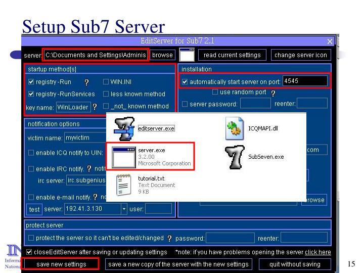 Setup Sub7 Server