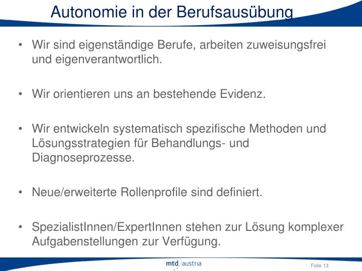 Autonomie in der Berufsausübung