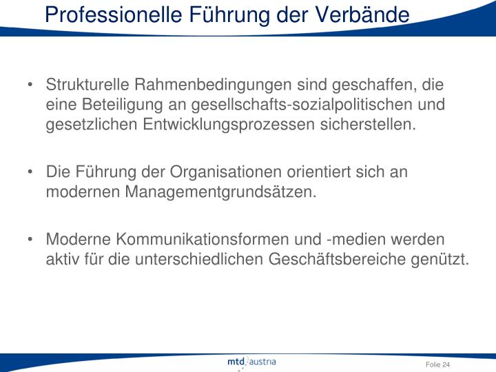 Professionelle Führung der Verbände