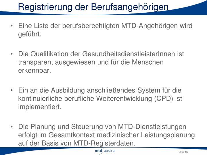 Registrierung der Berufsangehörigen