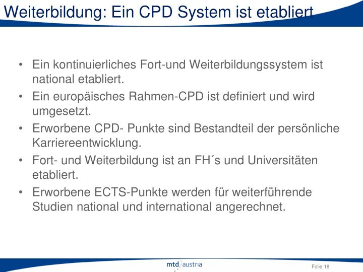 Weiterbildung: Ein CPD System ist etabliert
