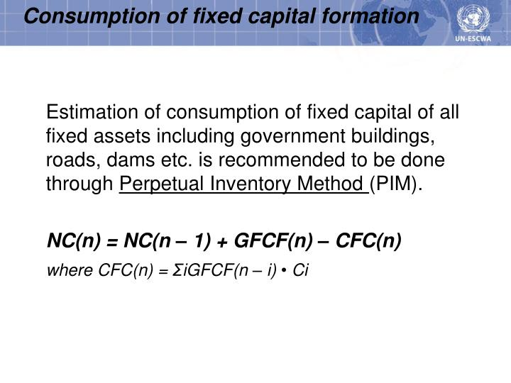 Consumption of fixed capital formation