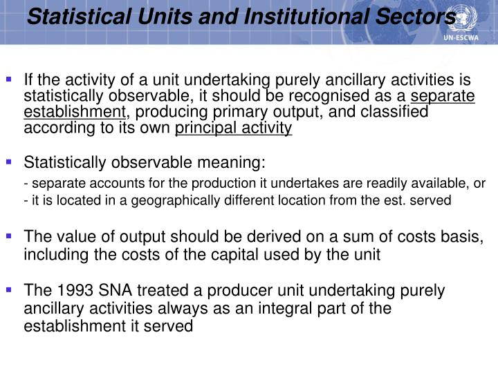 Statistical Units and Institutional Sectors