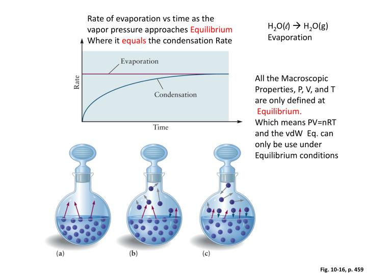 Rate of evaporation vs time as the