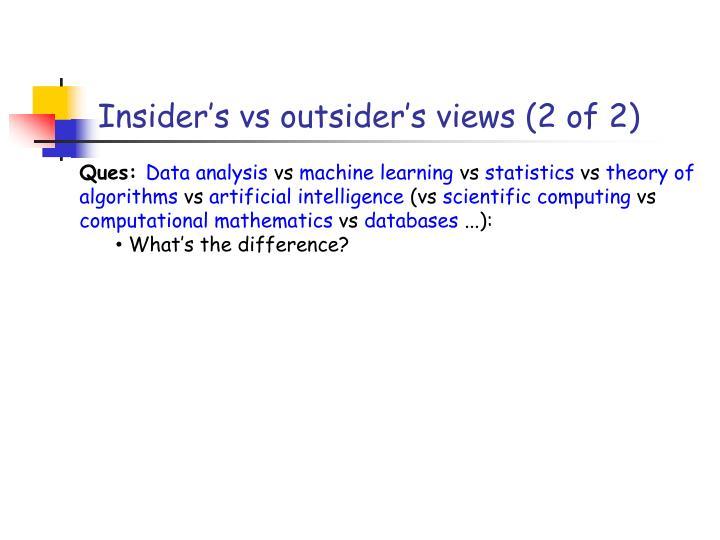 Insider's vs outsider's views (2 of 2)