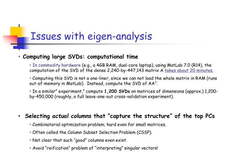 Issues with eigen-analysis