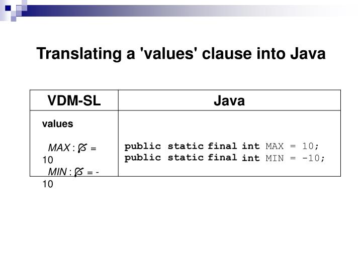 Translating a 'values' clause into Java