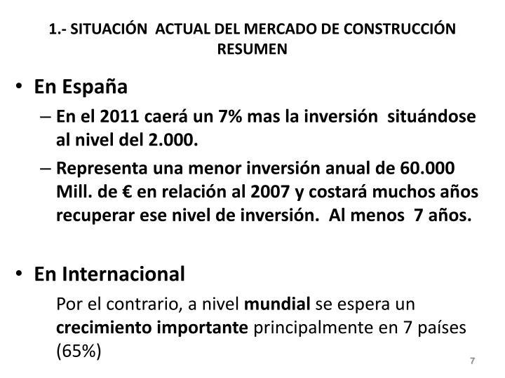 1.- SITUACIÓN  ACTUAL DEL MERCADO DE CONSTRUCCIÓN