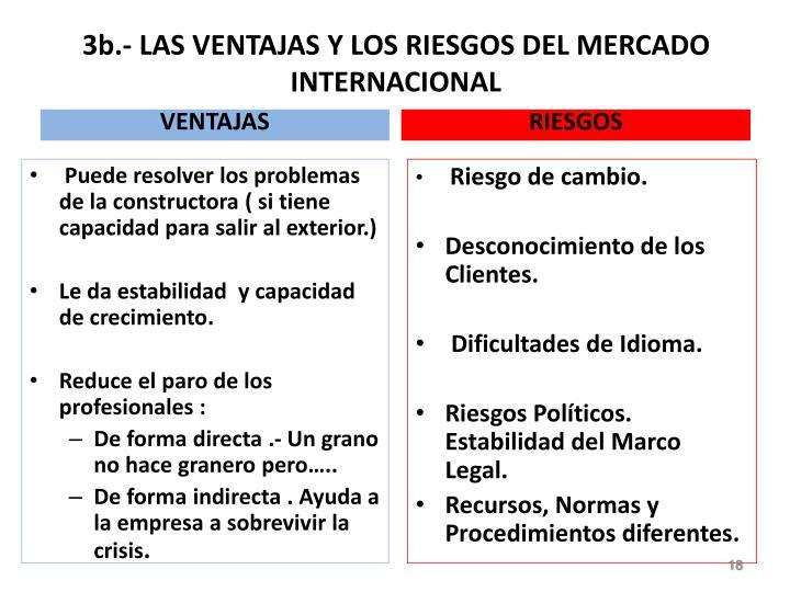 3b.- LAS VENTAJAS Y LOS RIESGOS DEL MERCADO INTERNACIONAL