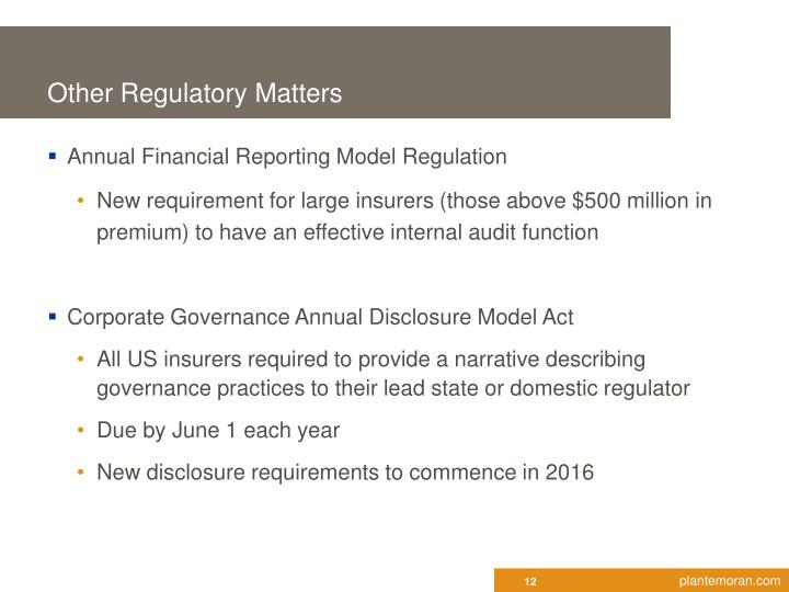Other Regulatory Matters