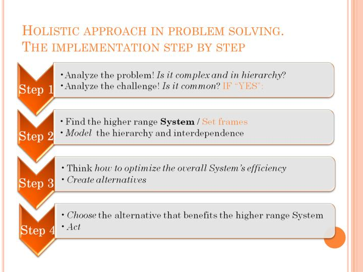 Holistic approach in problem solving.