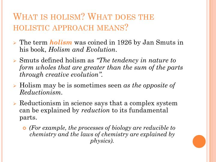 What is holism what does the holistic approach means