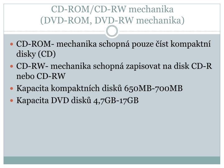 CD-ROM/CD-RW mechanika