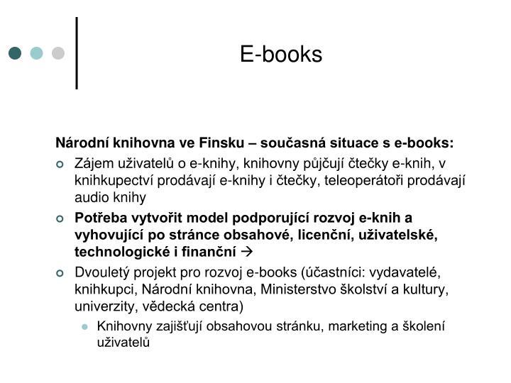 Národní knihovna ve Finsku – současná situace s e-books: