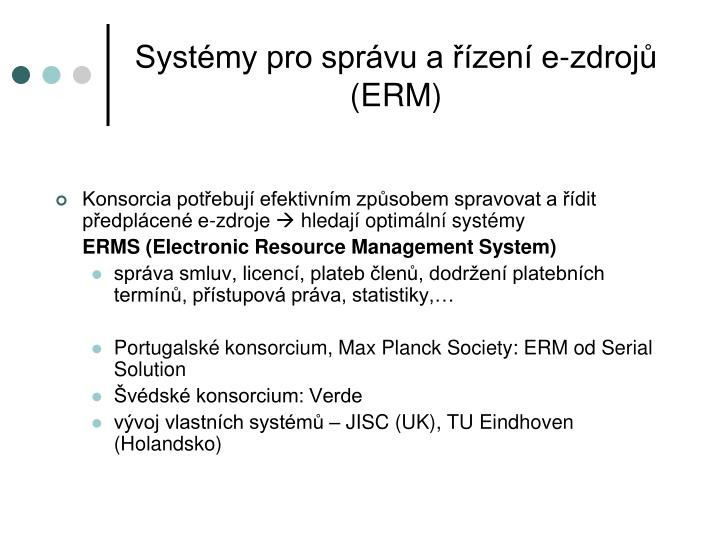 Systémy pro správu a řízení e-zdrojů (ERM)