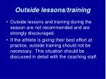 outside lessons training