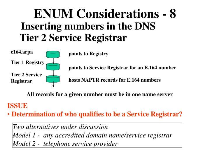 ENUM Considerations - 8