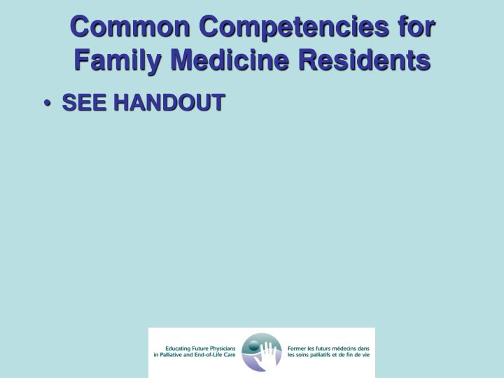 Common Competencies for Family Medicine Residents
