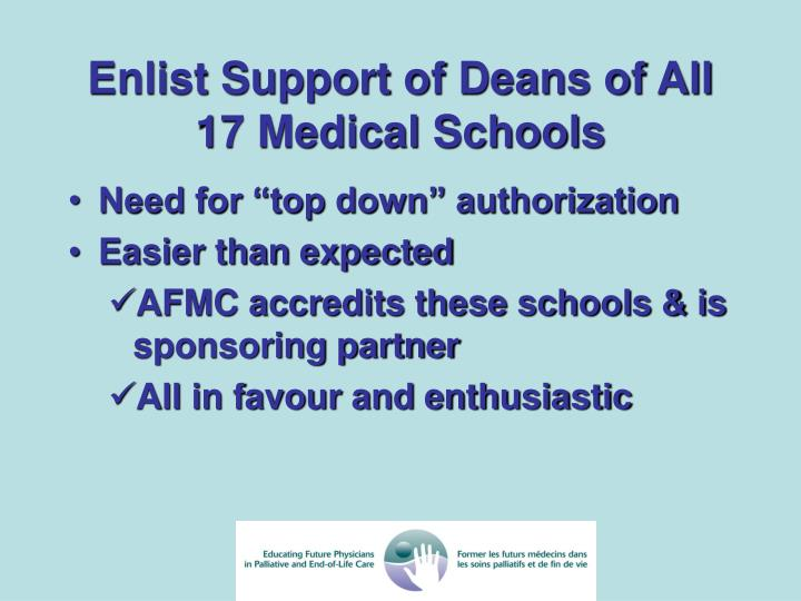 Enlist Support of Deans of All 17 Medical Schools