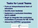 tasks for local teams