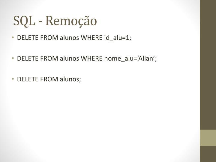 SQL - Remoção