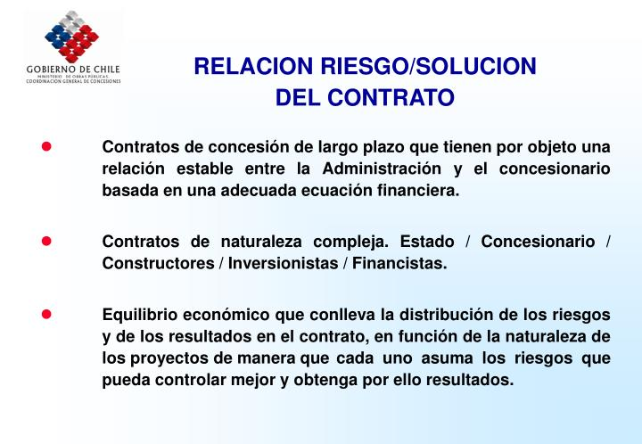RELACION RIESGO/SOLUCION
