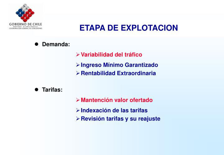 ETAPA DE EXPLOTACION