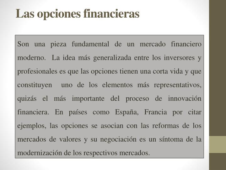 Las opciones financieras