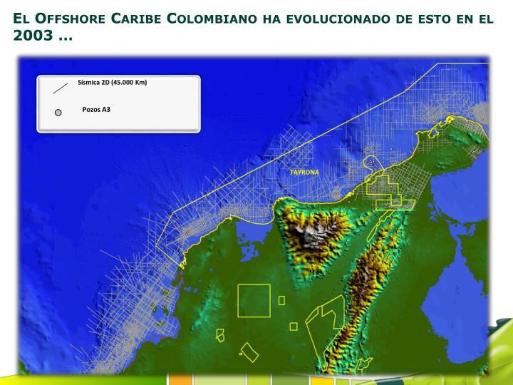 El Offshore Caribe Colombiano ha evolucionado de esto en el 2003 …