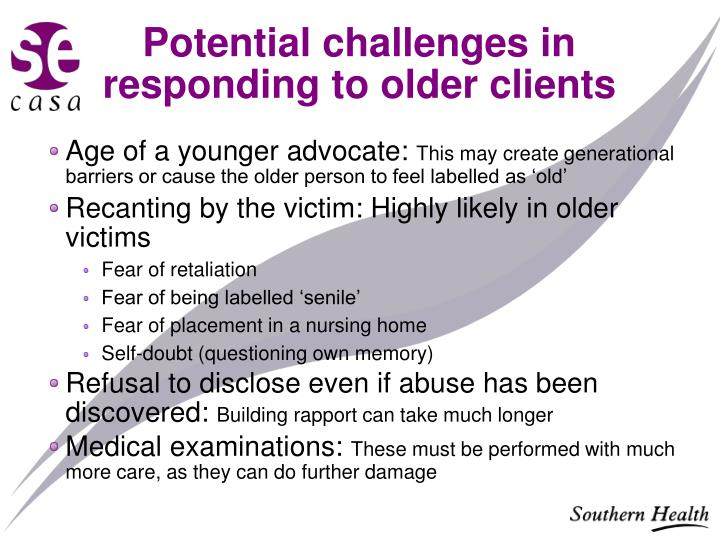Potential challenges in responding to older clients
